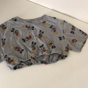 Gray Mickey Mouse drawstring crop tee